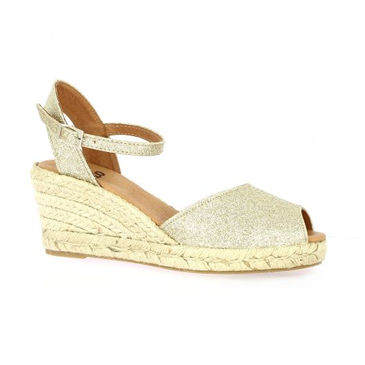 Pao Espadrille toile paillette or