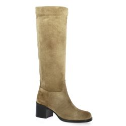 Fremilu Bottes cuir velours taupe