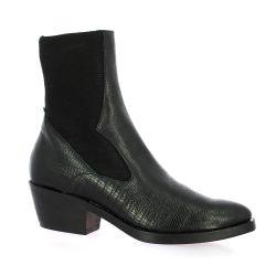 Reqins Boots cuir serpent noir