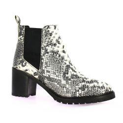 Reqins Boots cuir python blanc/noir