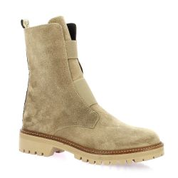 Reqins Boots cuir velours taupe