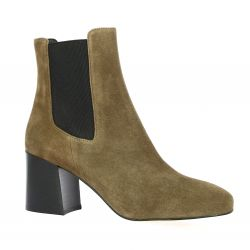Sofia costa Boots cuir velours taupe