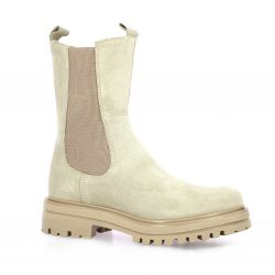 Cf Boots cuir velours beige