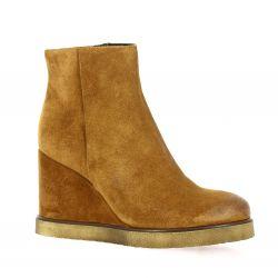 Spaziozero Boots cuir velours cognac