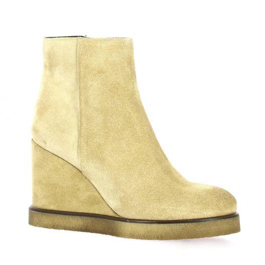 Spaziozero Boots cuir velours beige