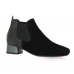 Reqins Boots cuir velours noir