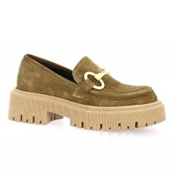 Pao Mocassins cuir velours taupe