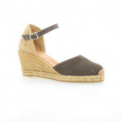 Pao Espadrille cuir velours anthracite