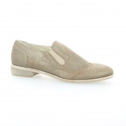 Pao mocassins cuir laminé taupe