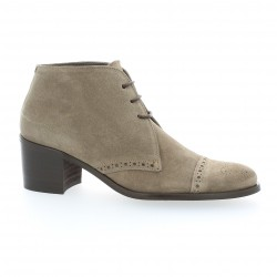 Boots cuir velours taupe Paco valiente