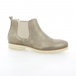 Pao Boots cuir laminé taupe