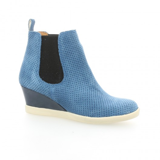 Minka design Boots cuir velours bleu