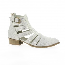 Pao Boots cuir python argent